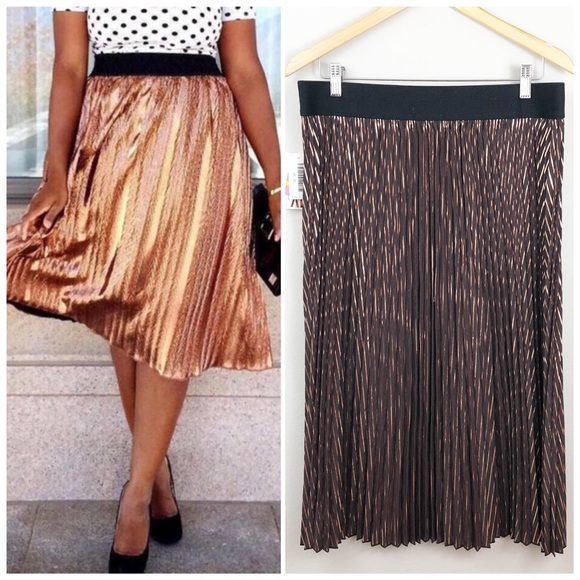 e779da1f02 Lularoe Jill pleated copper stripe skirt - XL. M_5bd67da9d6dc52b82ff1e221